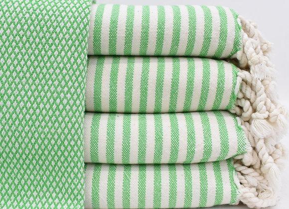Soft Stripe trim Turkish beach towel - Green