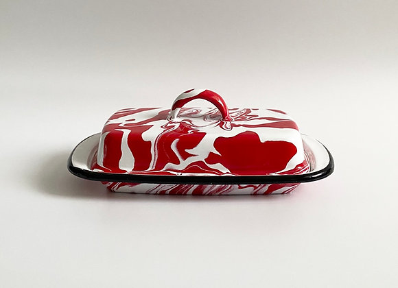 Red and white marble effect enamel butter dish