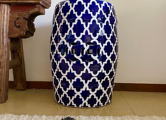 """Navy and white """"plum blossom"""" ceramic stool"""