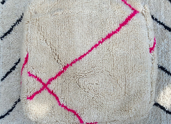 Moroccan pouf handmade from antique Beni Ourain rugs - NEON pink