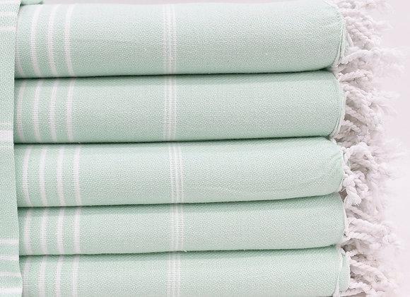 Pale Mint striped Hammam Turkish beach towel
