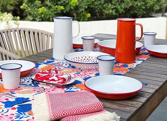 Handmade Koi table runner- natural/blue