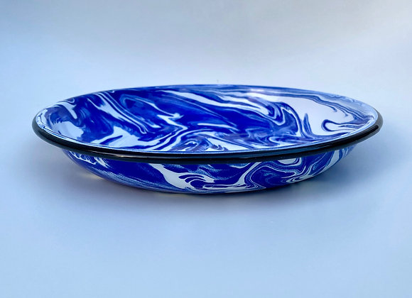 Blue and white marble effect enamel pasta dish 22cm