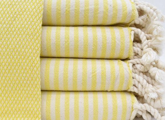 Soft Stripe trim Turkish beach towel -Yellow