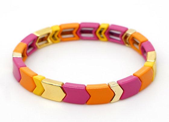 Orange and pink arrow enamel beaded bracelet