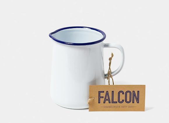 Falcon enamel 1pint jug white with blue rim