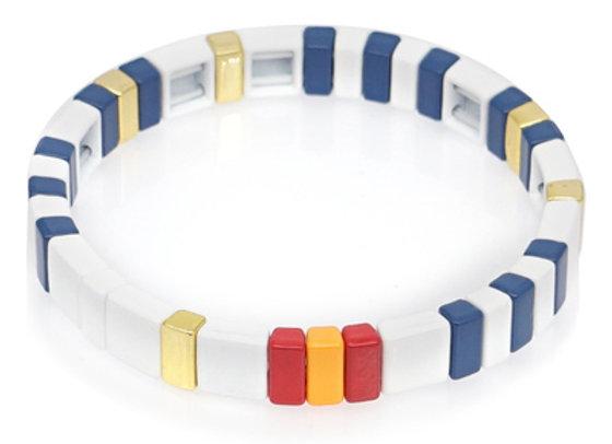 Navy, red, white enamel beaded bracelet