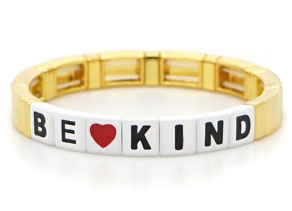Be Kind enamel beaded bracelet