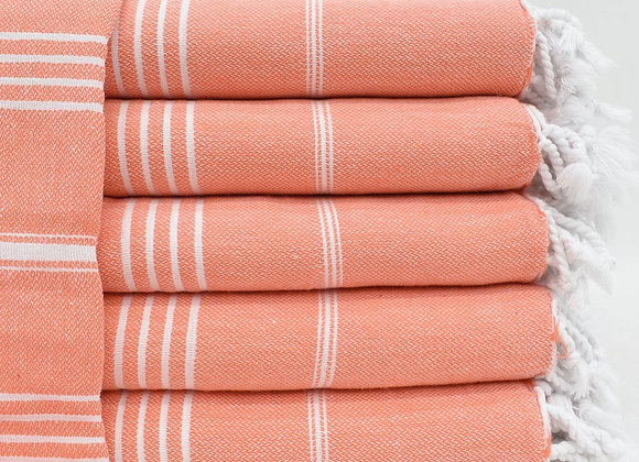 Coral striped Hammam Turkish beach towel