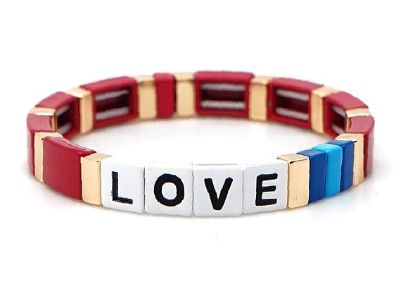 Red love enamel beaded bracelet