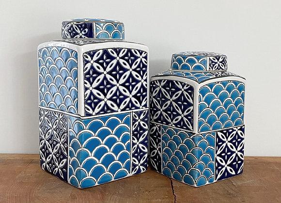 Navy and blue rectangular ginger jar - small