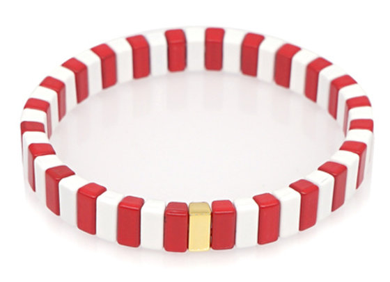 Red and white Enamel beaded bracelet