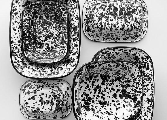 Black and white splash effect enamel dishes