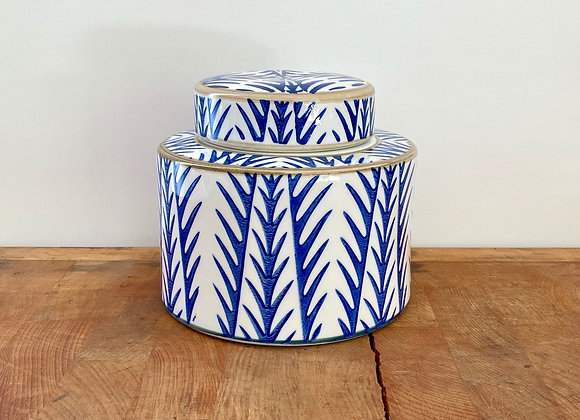 """Small blue and white """"bamboo"""" Ginger jar"""