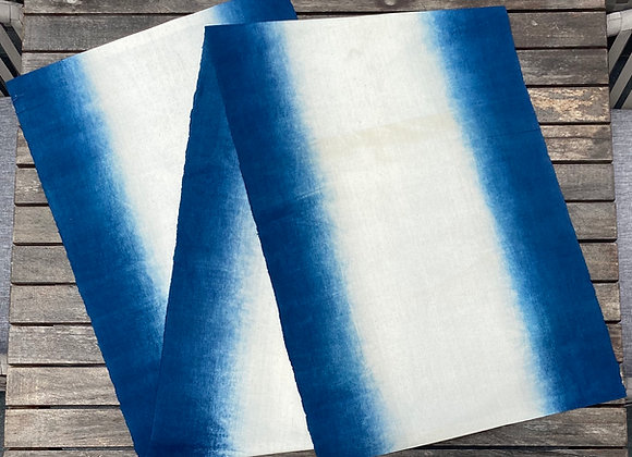 Handmade dip dyed indigo table runner