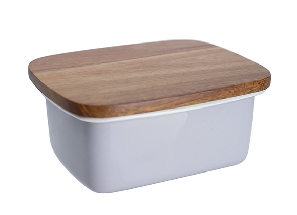 Grey enamel butter dish with wooden lid
