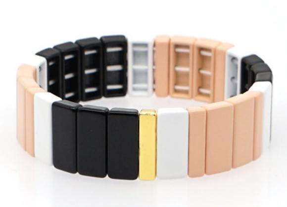 Wide enamel black and white bracelet