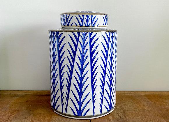 "Medium blue and white ""bamboo"" Ginger jar"