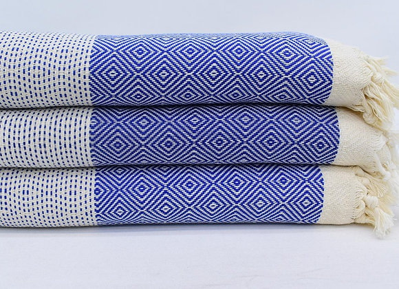 King size blue and cream blanket/throw