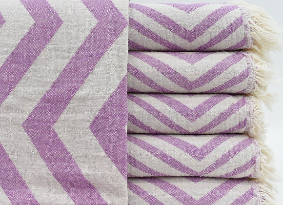 Purple fading zig zag Turkish beach towel
