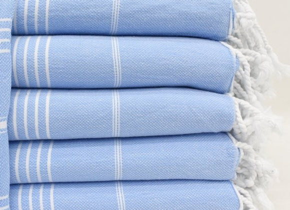 Light Blue striped Hammam Turkish beach towel