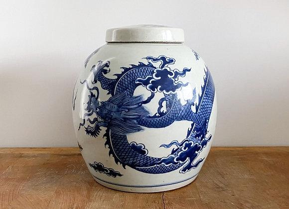 Old round Dragon Ginger Jar
