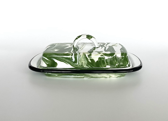 Green and white marble effect enamel butter dish