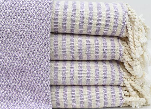 Soft Stripe trim Turkish beach towel - Lilac
