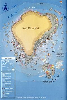 Карта дайв сайта Ко Бида Нок