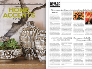 Allison Paladino New Wendover Art Group Line featured in Home Accents Today 'Best of Market'