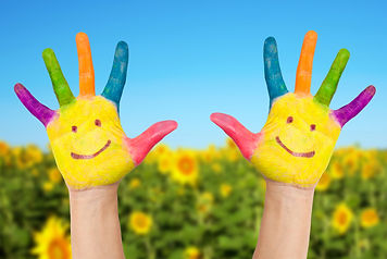 Two Smiley Hands In Sunny Summer's Day..