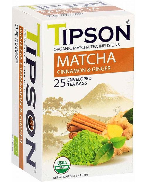 TIPSON - Organic Matcha Cinnamon & Ginger Tea Bags 25