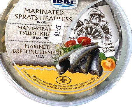 Irbe Marinated Sprats Headless In Oil 200g