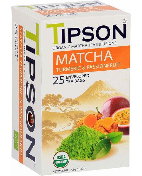 Tipson Organic Matcha Turmeric & Passionfruit Tea Bags 25