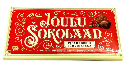 Kalev Christmas Milk Chocolate With Gingerbread Pieces, Cranberries 300g