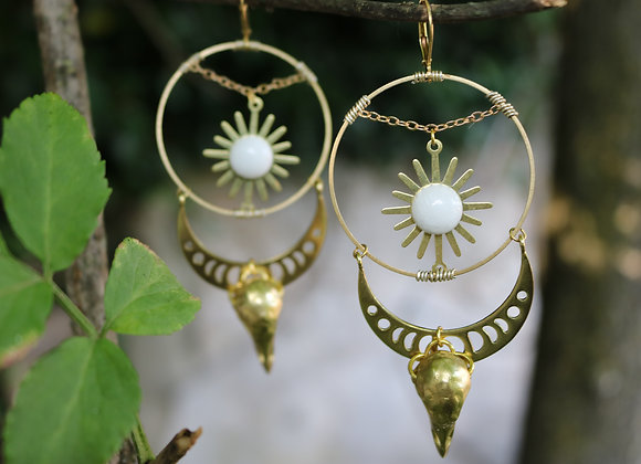Solstice - Boucles d'oreilles solaires, laiton