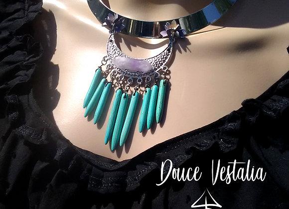 Douce Vestalia - Plastron argenté fleuri, Amethyste & pointes de Turquoise