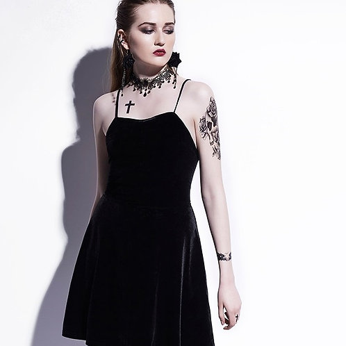 Black velours MINI DRESS