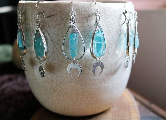 Ad Vitae - Boucles d'oreilles argentées, laiton, quartz coloré