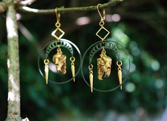 Felem Felicis - Boucles d'oreilles lunaires, laiton