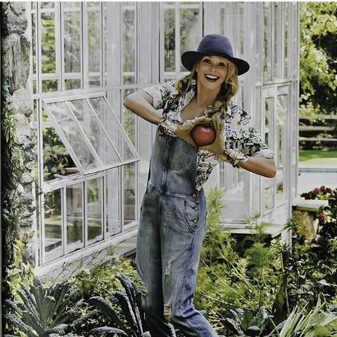 Christie Brinkley in her organic garden