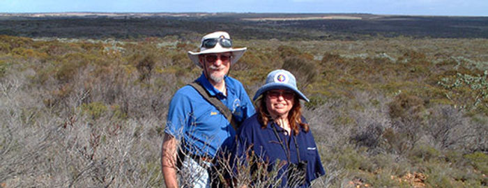 Eddy Wajon and his wife survey the remnant vegetation in their GondwanaLink property, Chingarrup Sanctuary, WA