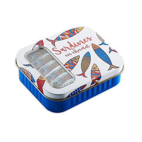 Boites métal 12 sardines en chocolat