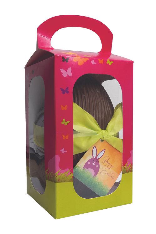 Boîte coquille de Pâques garnis d'oeufs en chocolat