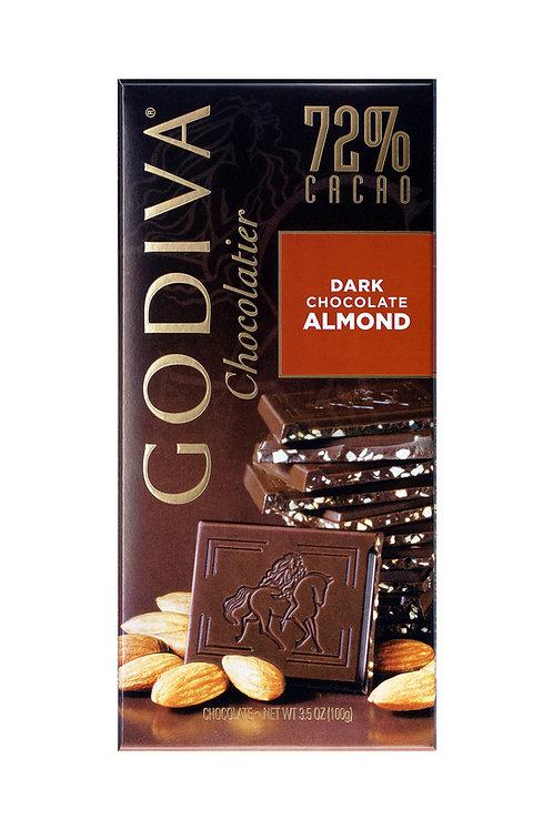 Godiva Tablette de Chocolat Noir 72% Amandes, 100 g