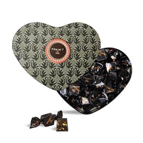 Coeur noir chocolat noir et nougat