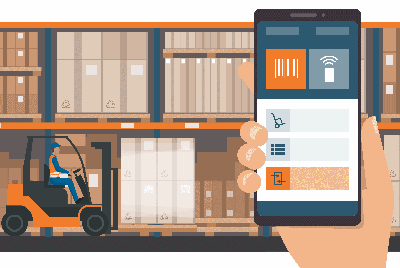 Using a smartphone in the warehouse