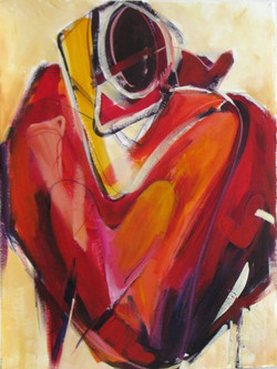 Woman as Vessel in Red V