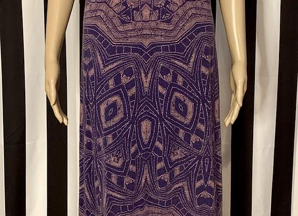 Purple/Peach Tribal Print Maxi Dress - M