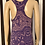 Thumbnail: Purple/Peach Tribal Print Maxi Dress - M